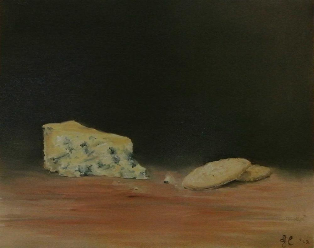 """""""Blue Stilton Cheese and Crackers"""" original fine art by James Coates"""
