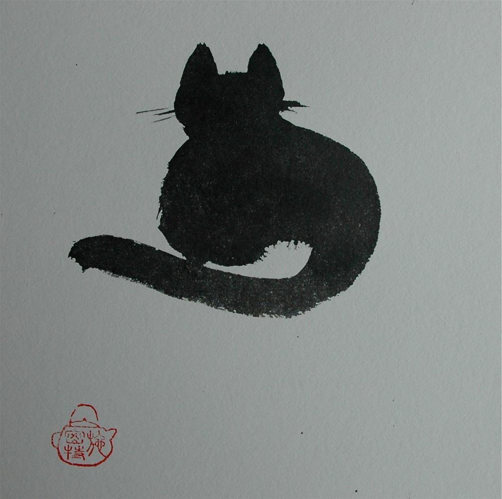 """Black cat"" original fine art by Ulrike Schmidt"