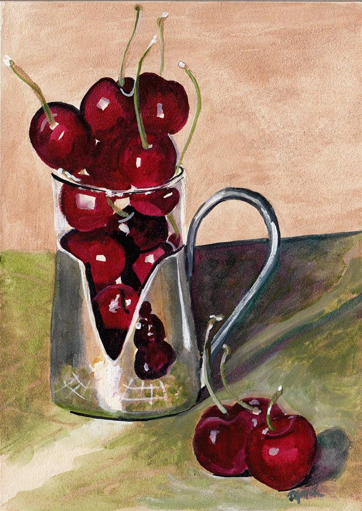 """""""Cherries in Silver Cup"""" original fine art by Bunny Griffeth"""