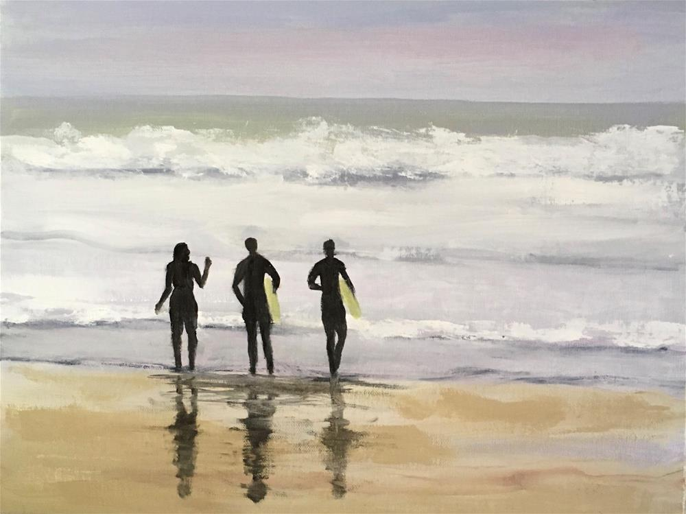 """""""Learning to Surf"""" original fine art by Patty Barnes"""