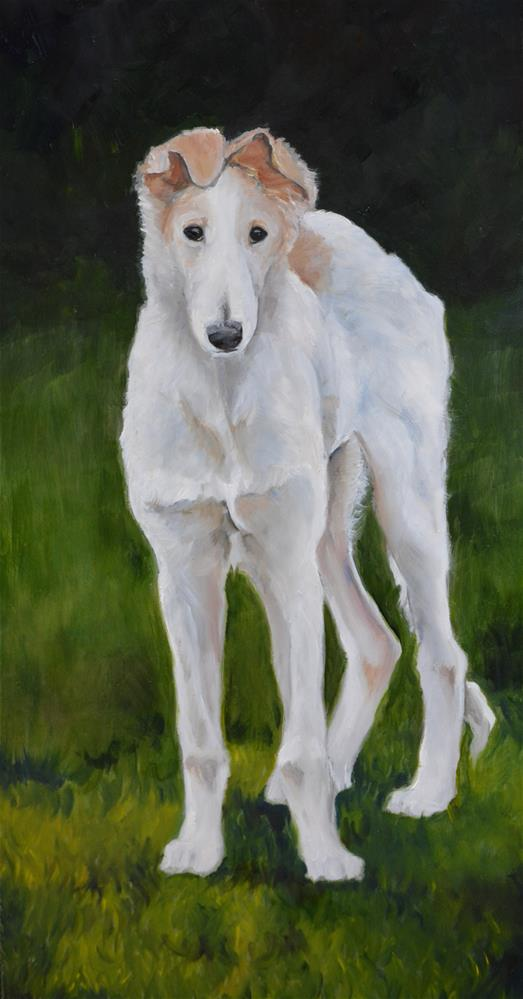 """Borzoi Puppy"" original fine art by Charlotte Yealey"