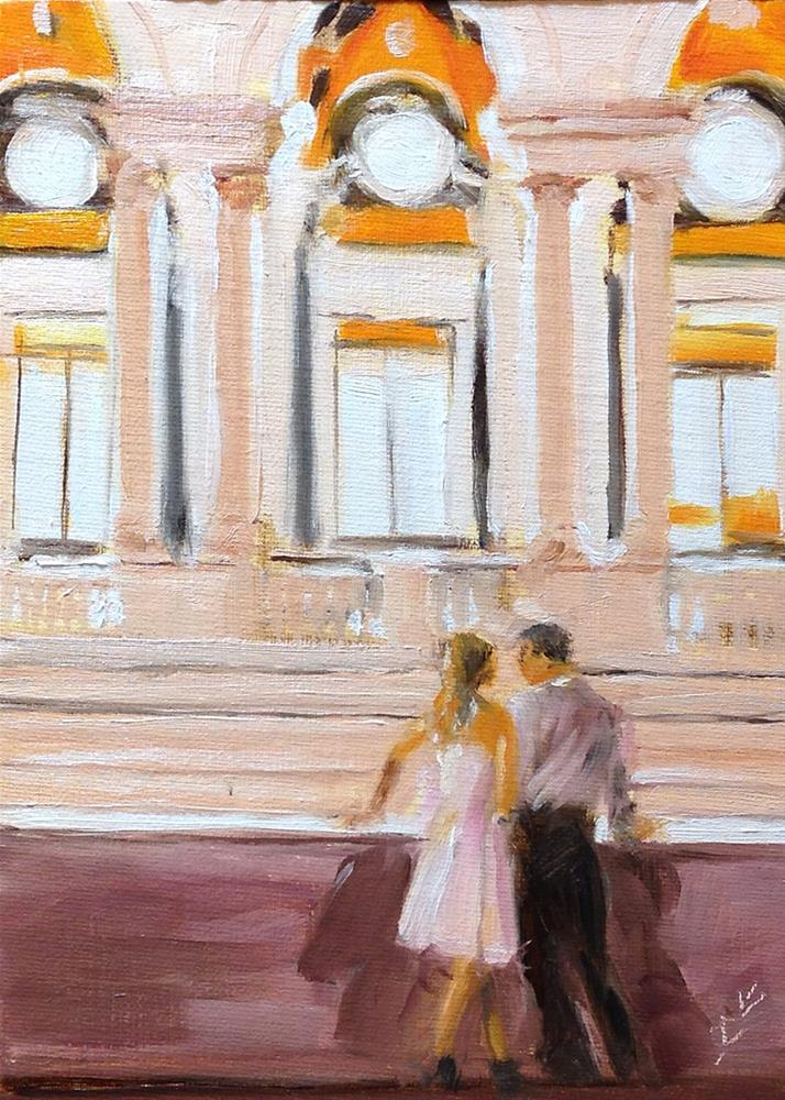 """""""Romance in the Library"""" original fine art by Linda Lowery"""
