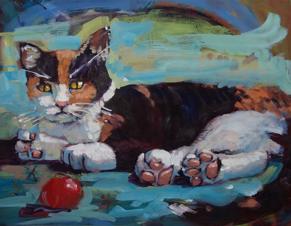 """Calico in Blue"" original fine art by Rick Nilson"