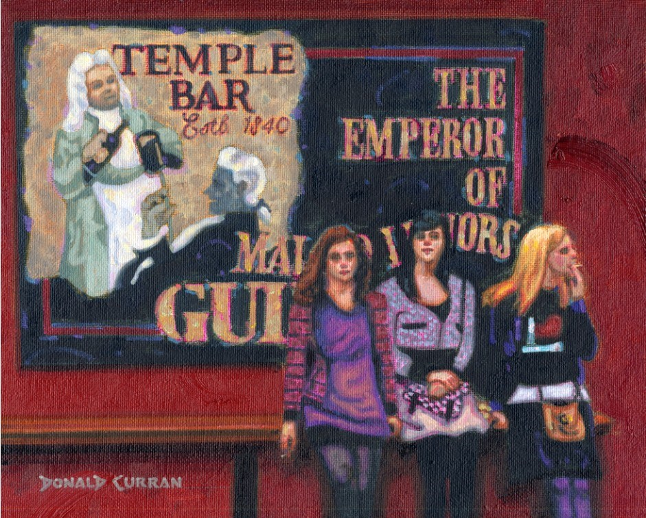 """Irish Girls in Dublin"" original fine art by Donald Curran"