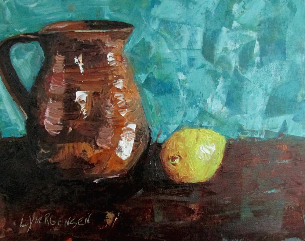 """8 x 10 inch oil Lemon & Crockery"" original fine art by Linda Yurgensen"