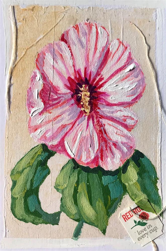 """Tea Bag Painting Hibiscus"" original fine art by Linda Blondheim"