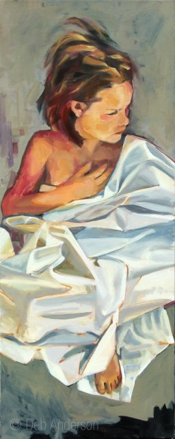 """Oil Painting: Draped Figure"" original fine art by Deb Anderson"