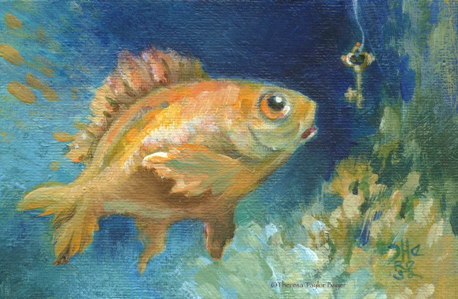 """""""Fish With a Key"""" original fine art by Theresa Taylor Bayer"""