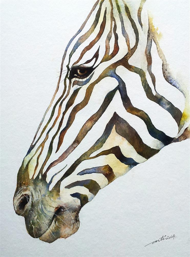 """Stripey_Zebra Portrait"" original fine art by Arti Chauhan"
