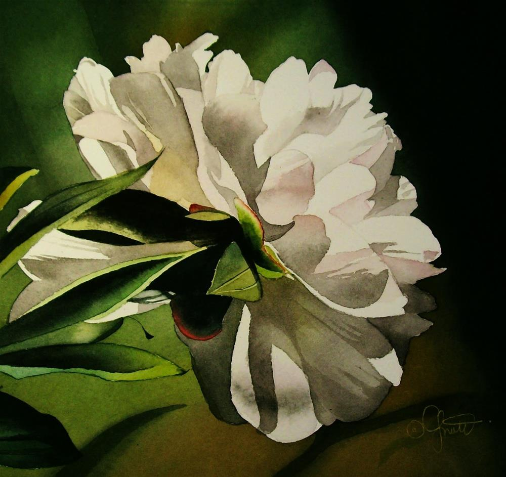 """Evening Peony"" original fine art by Jacqueline Gnott, TWSA, WHS"