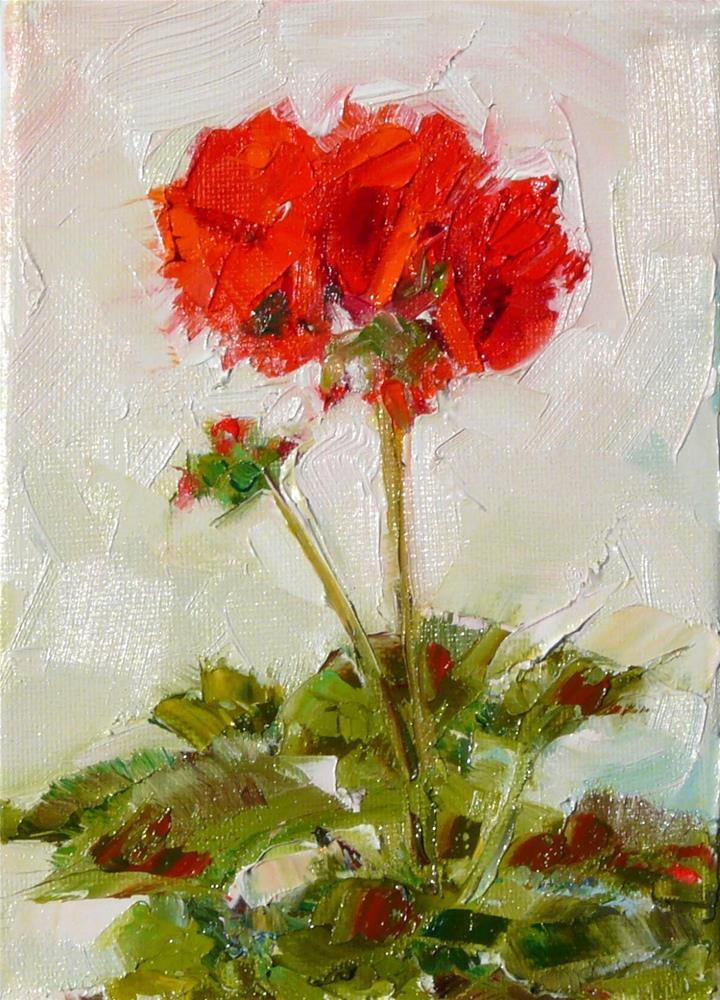"""Sunny Day Geranium,still life,oil on canvas,7x5,price$150"" original fine art by Joy Olney"