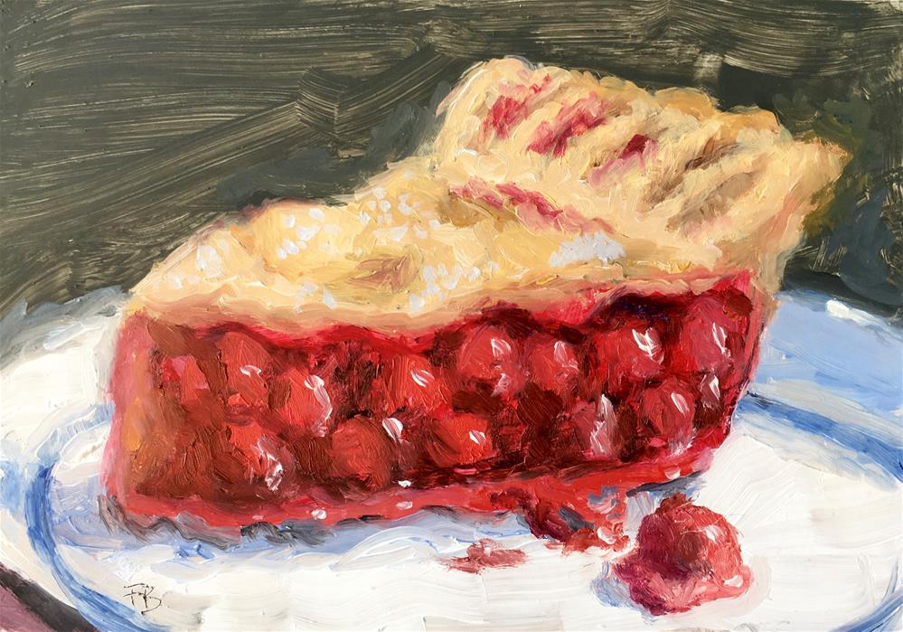 """052 Cherry Pie, Daily Painting Ritual, 5x7"" original fine art by Fred Bell"