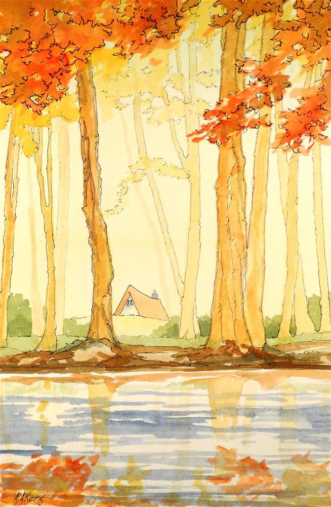 """Soft Morning Mist Storybook Cottage Series"" original fine art by Alida Akers"