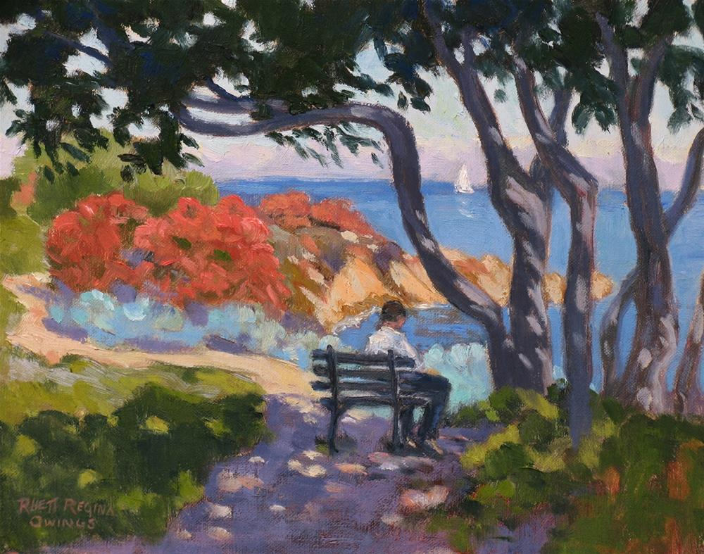 """A Shady Spot By the Sea"" original fine art by Rhett Regina Owings"
