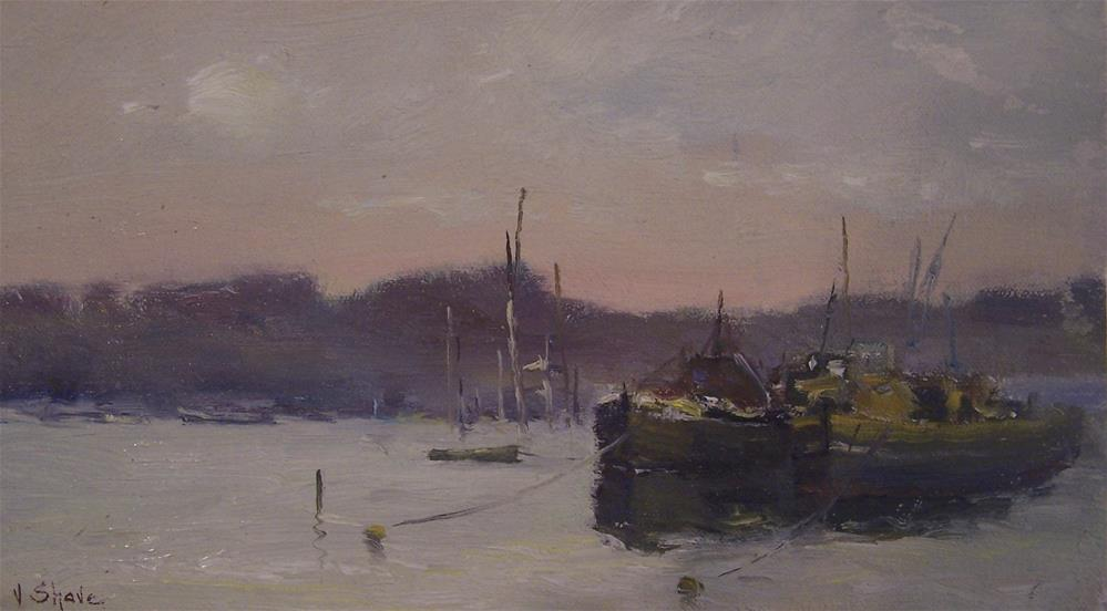 """""""Barges At Pin Mill"""" original fine art by John Shave"""