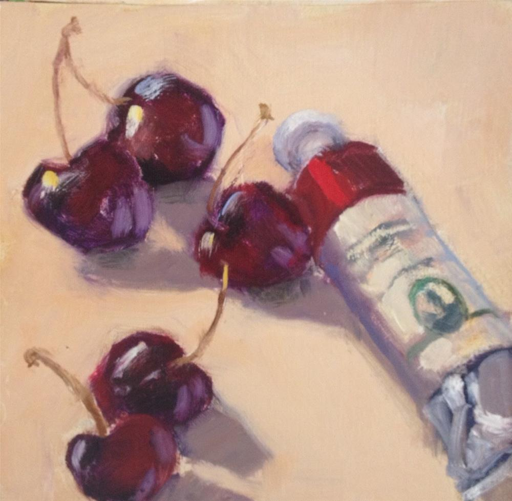 """Cherries"" original fine art by Mo Teeuw"