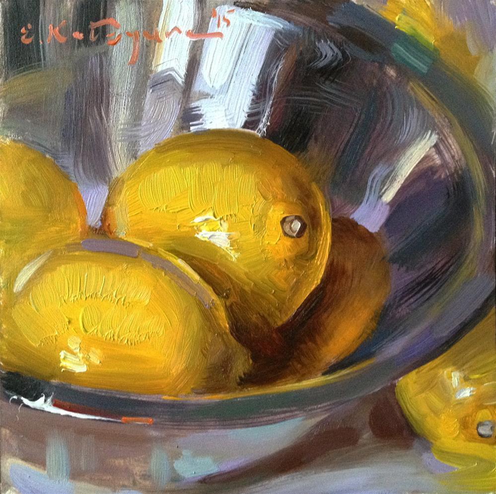 """""""Friendly Lemons"""" original fine art by Elena Katsyura"""