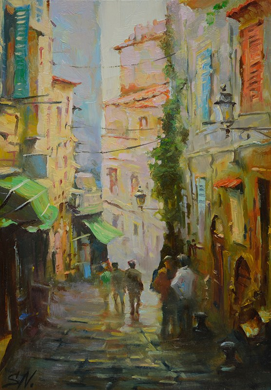 """Cloudy afternoon – Street scene of France"" original fine art by Nick Sarazan"