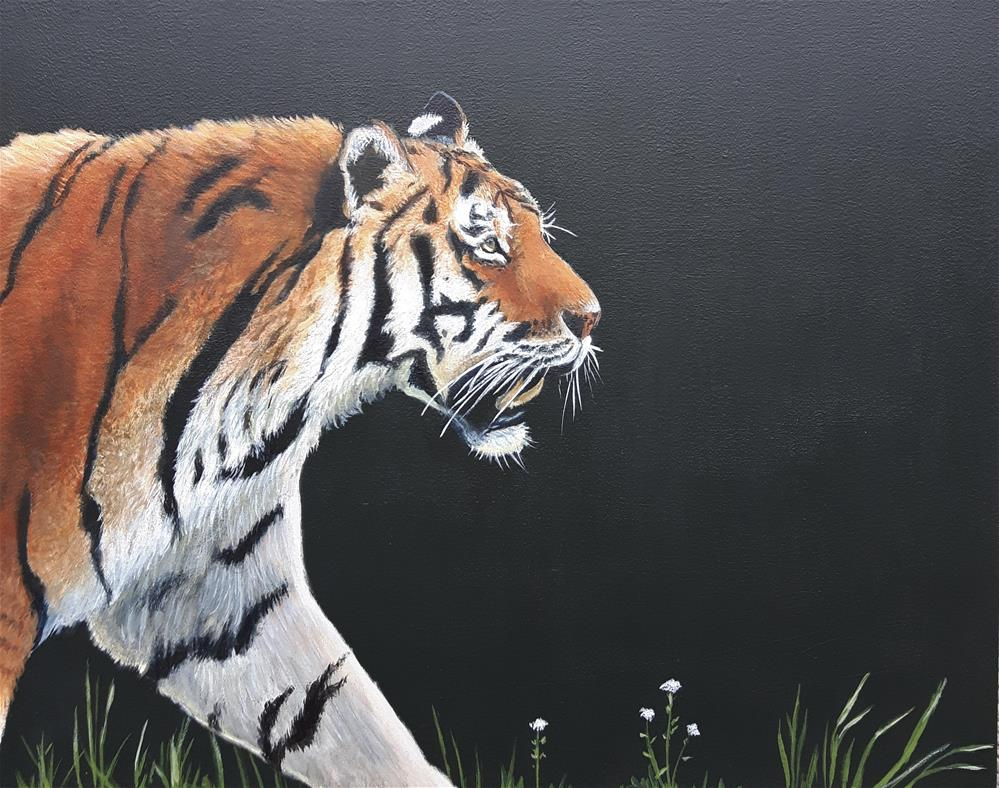 """Tiger in the grass"" original fine art by Staar Caswell"