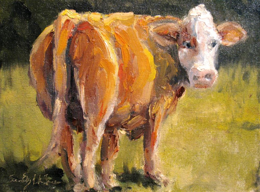 """Red Carpet Cow"" original fine art by Susan Elizabeth Jones"