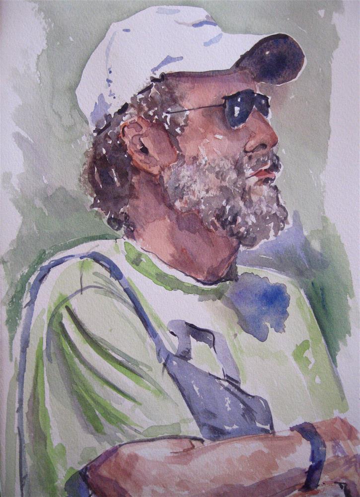 """White Baseball Cap"" original fine art by Judith Freeman Clark"