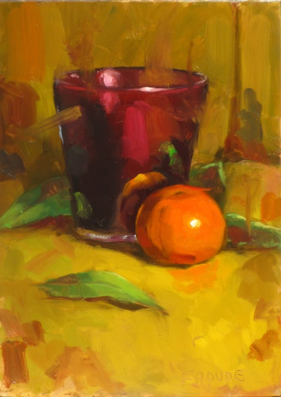 """""""orange and candle"""" original fine art by Dave Froude"""