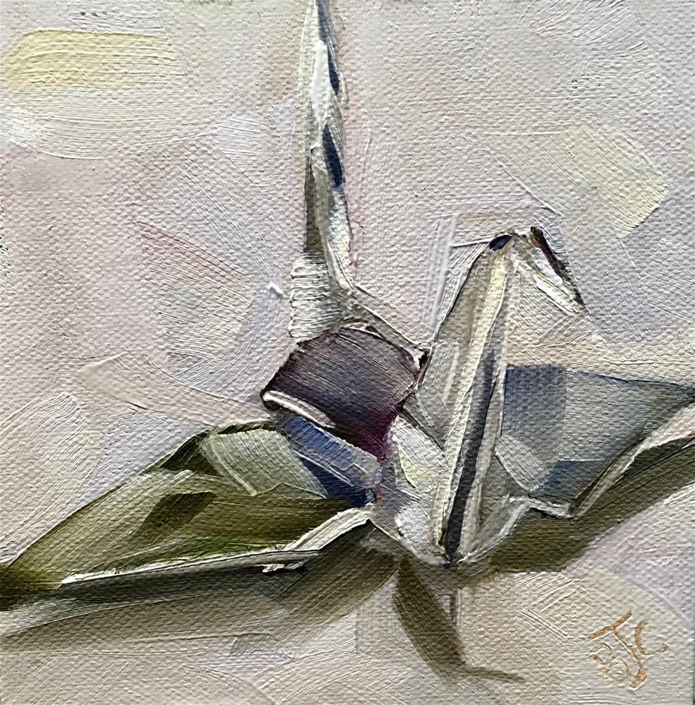 """""""Foil Crane"""" original fine art by Bobbie Cook"""