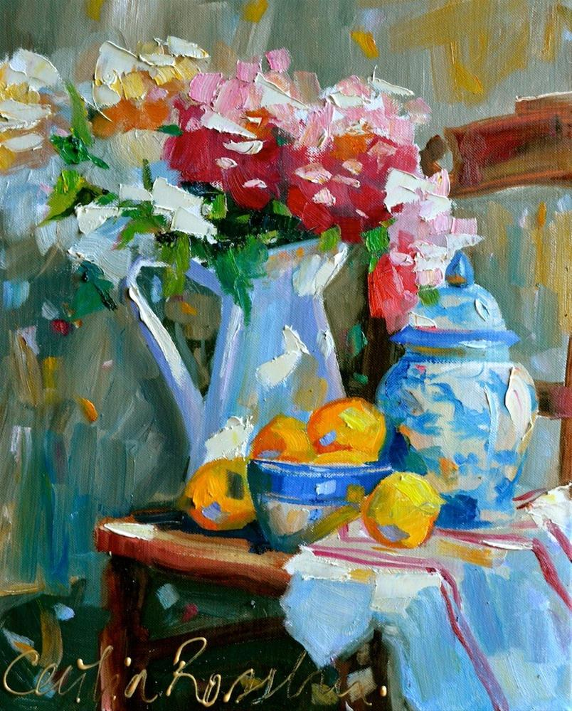 """""""SETTING ON CHAIR"""" original fine art by Cecilia Rosslee"""