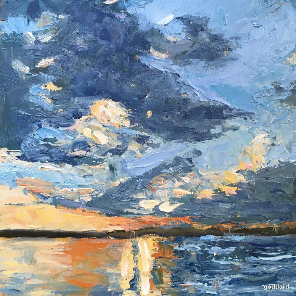 """Lake Michigan Sunset"" original fine art by Shari Goddard Shambaugh"