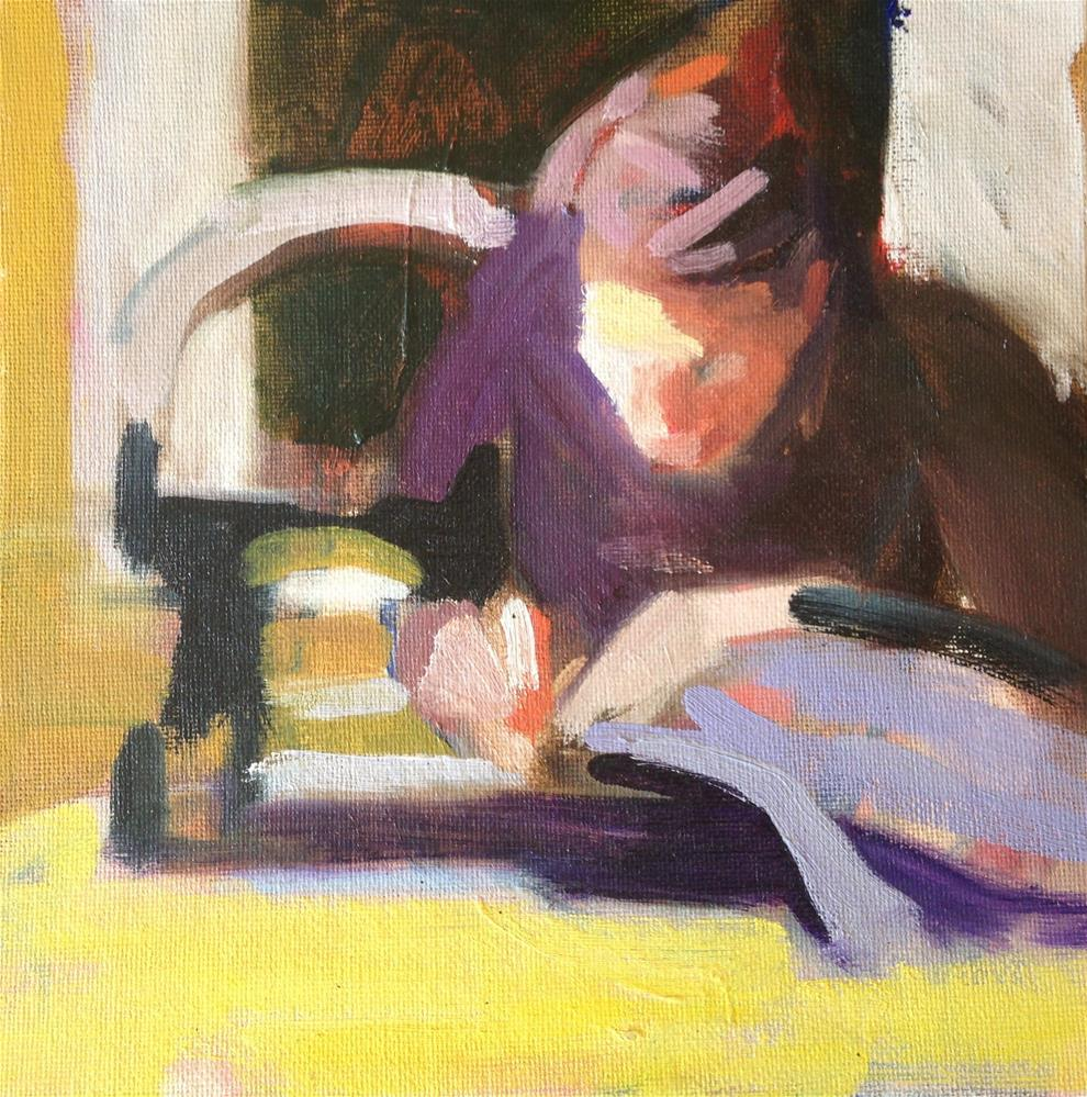 """""""Sonja Sewing"""" original fine art by Pamela Hoffmeister"""