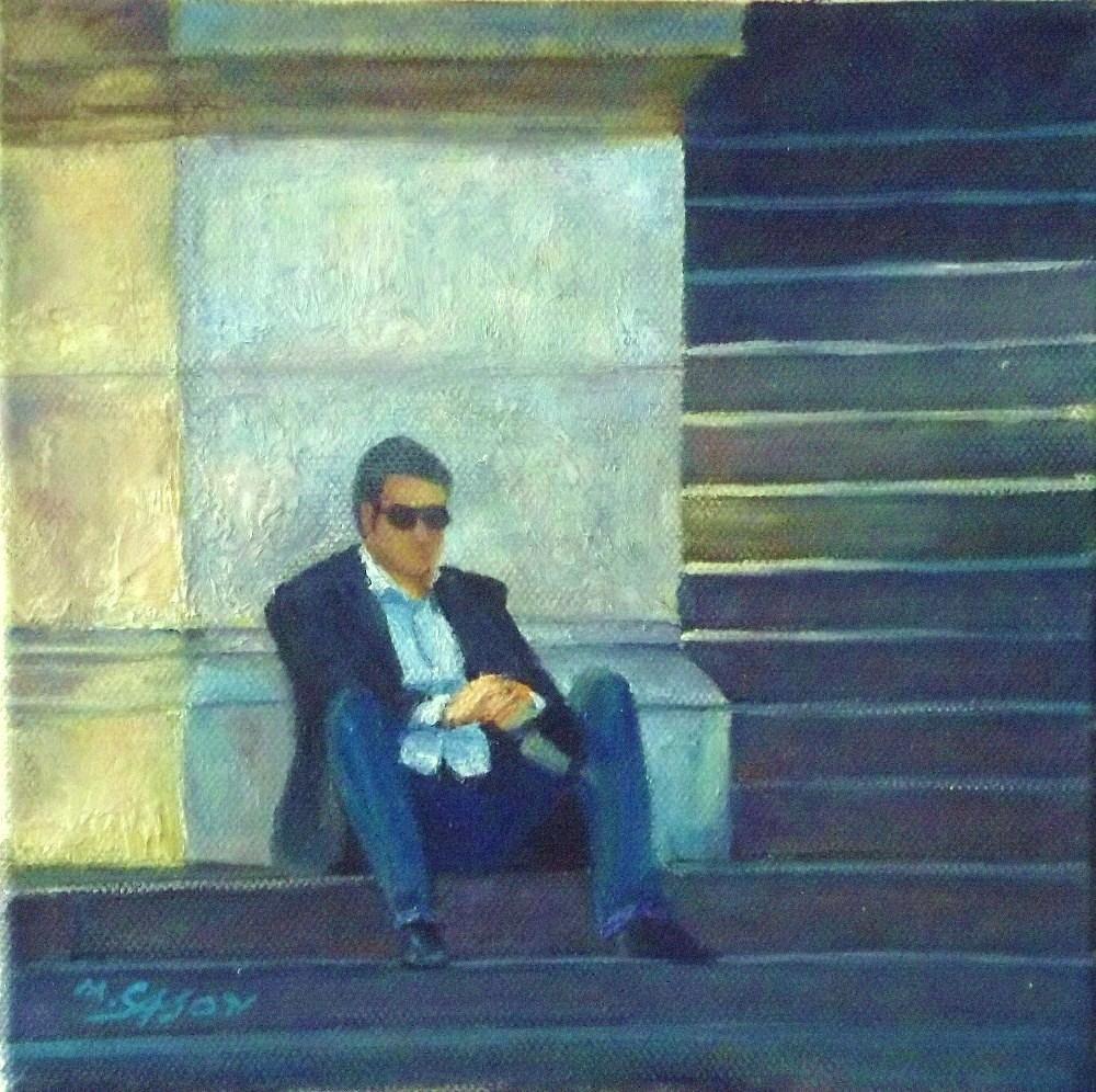 """Armani?"" original fine art by Michael Sason"