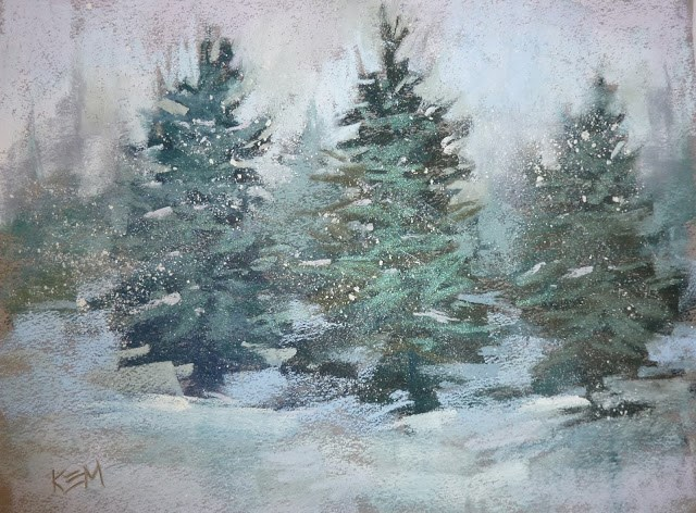 """A Quick Tip for Painting Falling Snow"" original fine art by Karen Margulis"