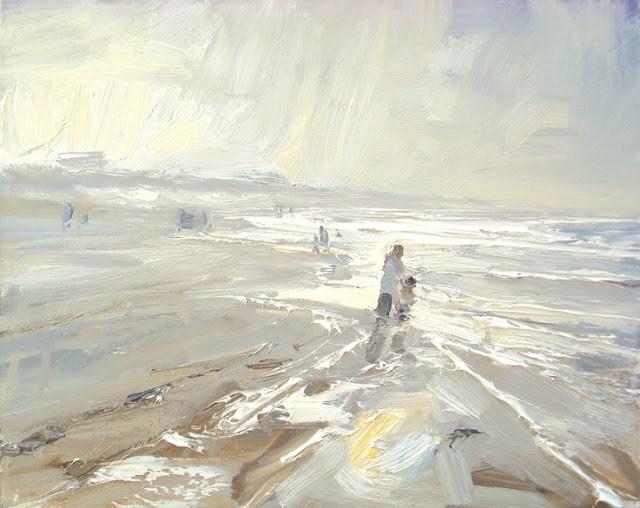"""Seascape winter #33 Shoreline - bright light - Grandmother and grandson"" original fine art by Roos Schuring"