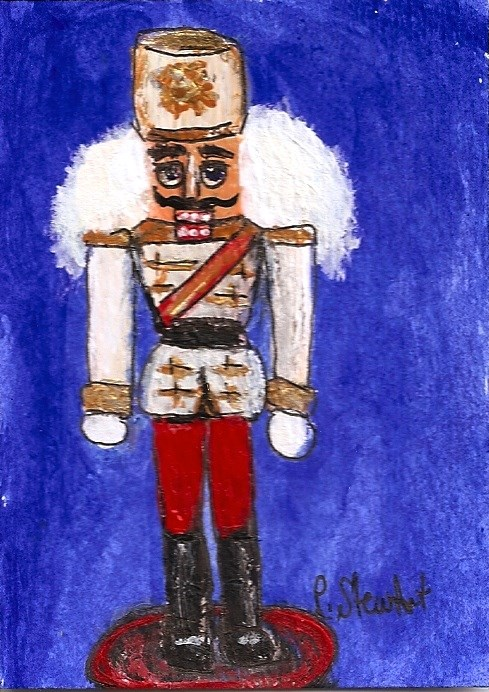 """ACEO Nutcracker Toy Soldier White Jacket Gold Trim Big Hair Penny StewArt"" original fine art by Penny Lee StewArt"