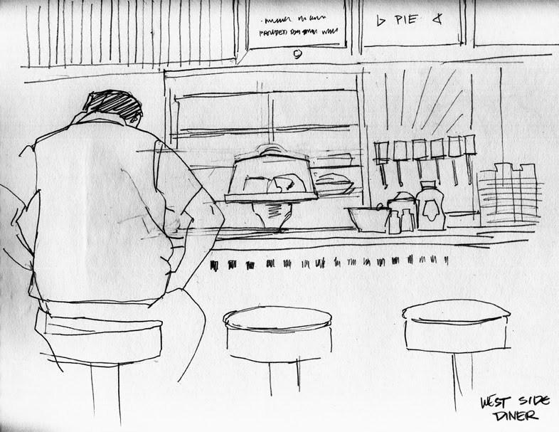"""""""The West Side Diner"""" original fine art by Kathy Weber"""