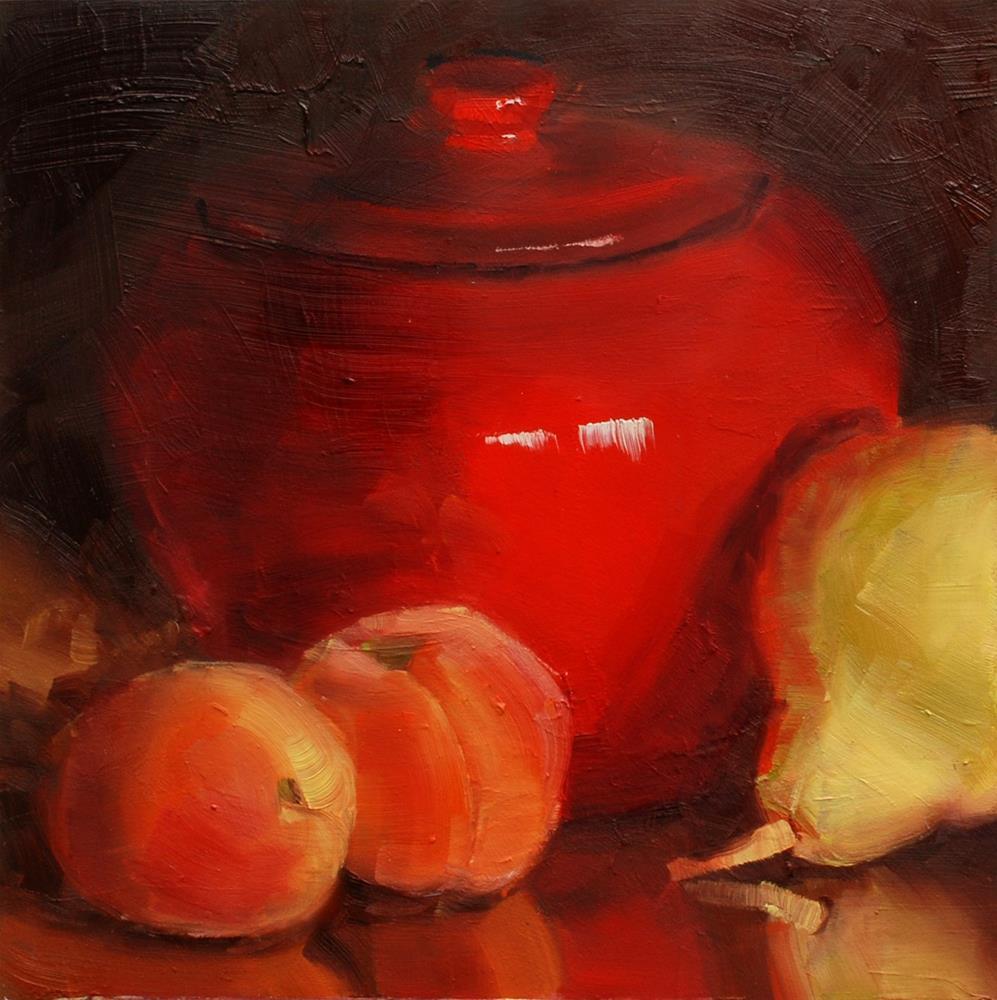 """Apricots and Pear"" original fine art by Susan McManamen"
