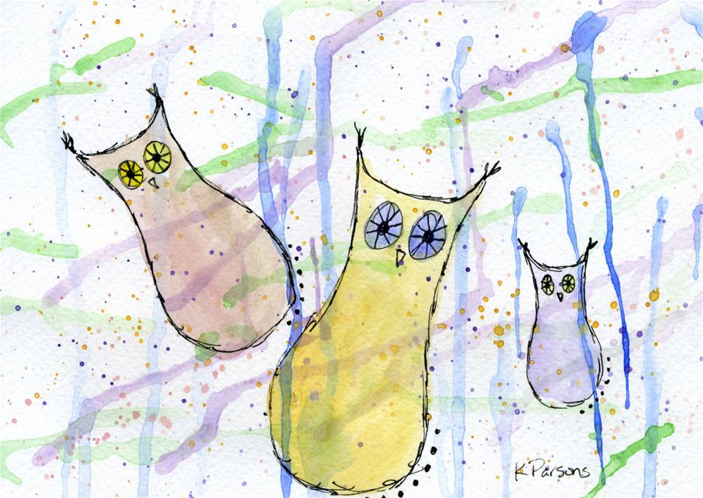 """Three Wise Owls"" original fine art by Kali Parsons"