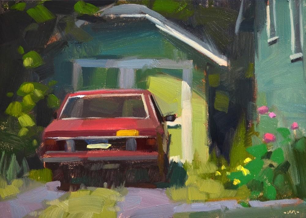 """""""Parked in Green"""" original fine art by Carol Marine"""