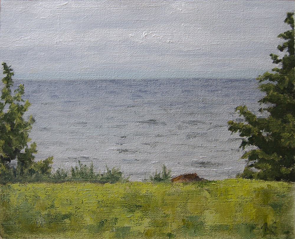 """""""Lake View From the Porch"""" original fine art by Rachel Steely"""
