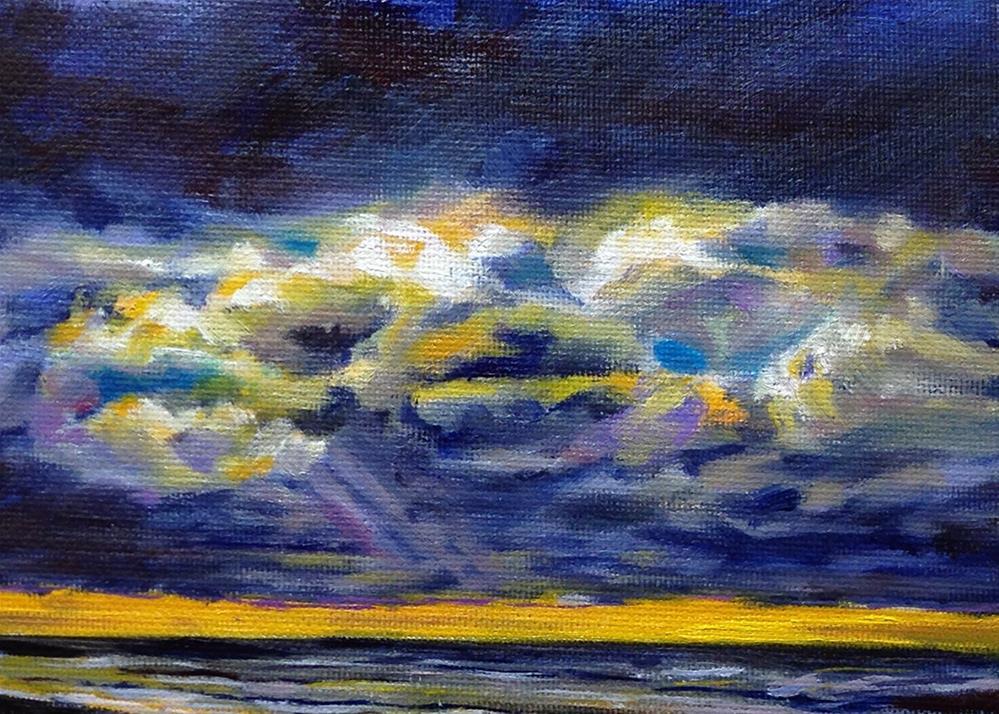 """Dark Clouds, Orange Sky"" original fine art by Linda Lowery"