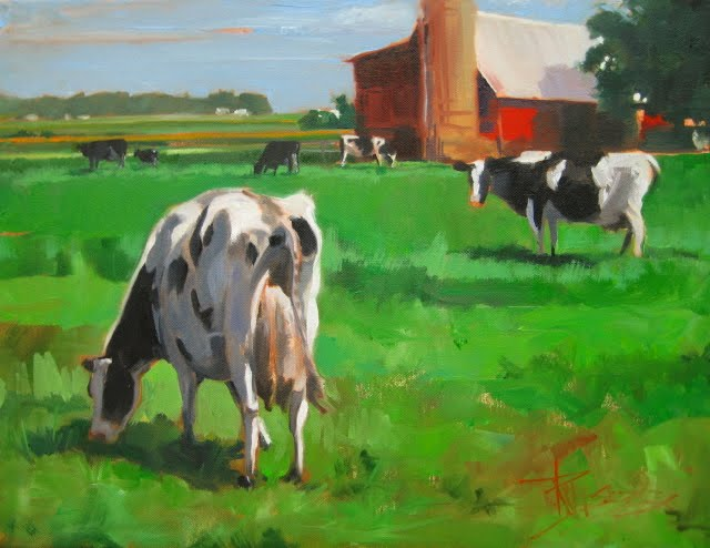 """Green Pastures  oil landscape painting with cows"" original fine art by Robin Weiss"