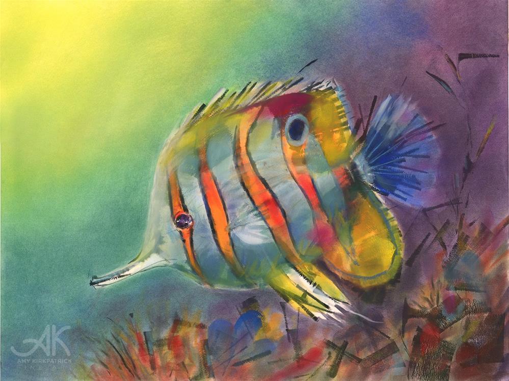 """COPPER BAND BUTTERFLY FISH #0756"" original fine art by Amy Kirkpatrick"