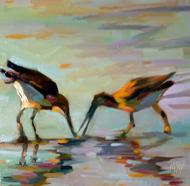"""""""Gimme That! 6x6     oil on gesso board The gull on the right was running around grabbing at the other gull's finds! Thus the title ;)"""" original fine art by Mary Sheehan Winn"""