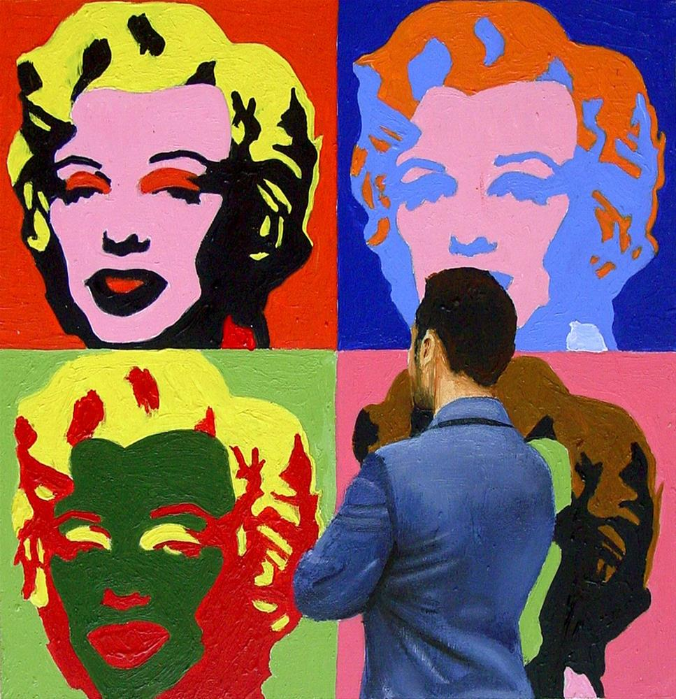 """Miss Monroe- Painting Of Man Enjoying Painting Of Marilyn Monroe By Andy Warhol"" original fine art by Gerard Boersma"