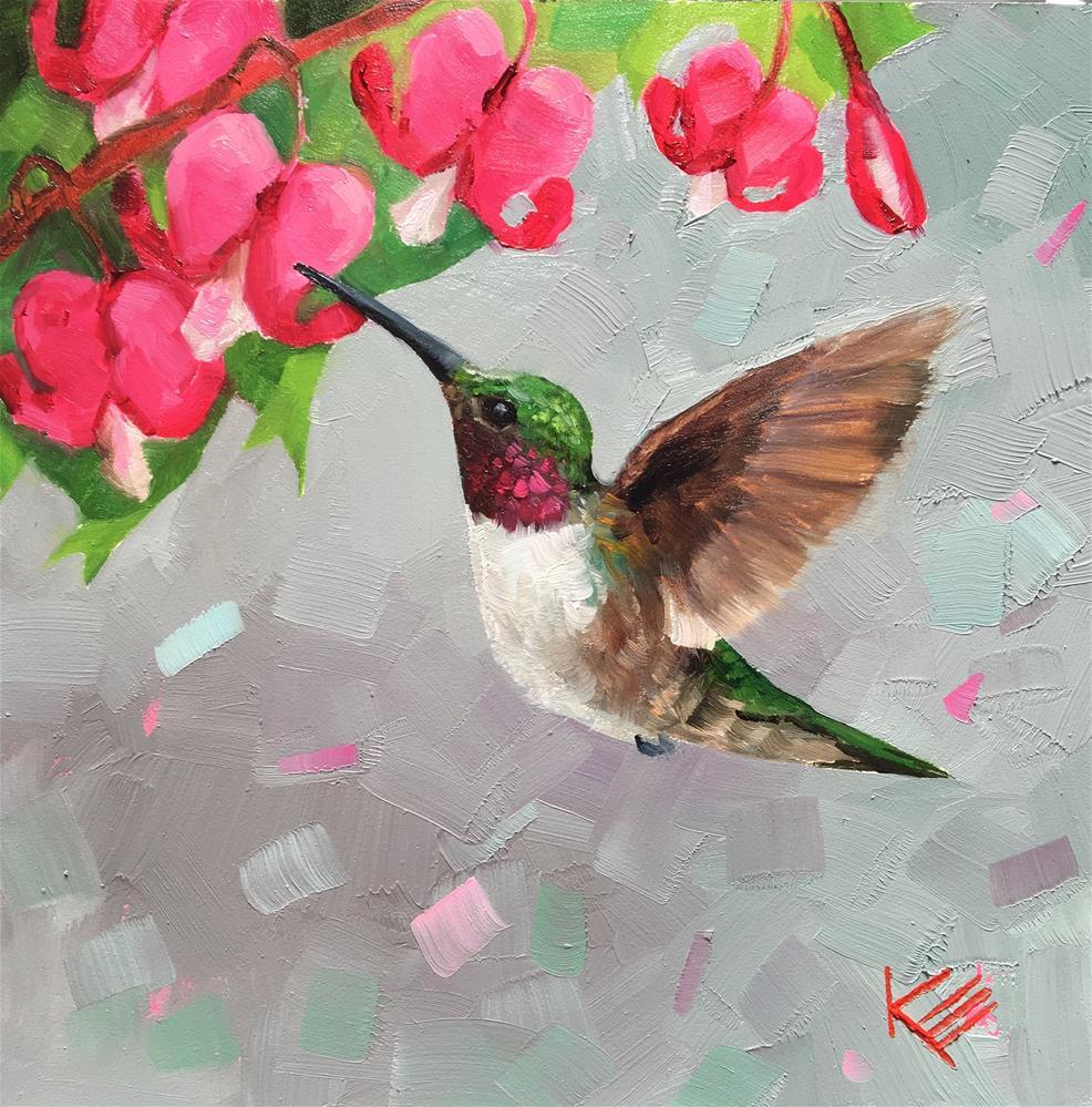 """Hummingbird & Bleeding Hearts "" original fine art by Krista Eaton"