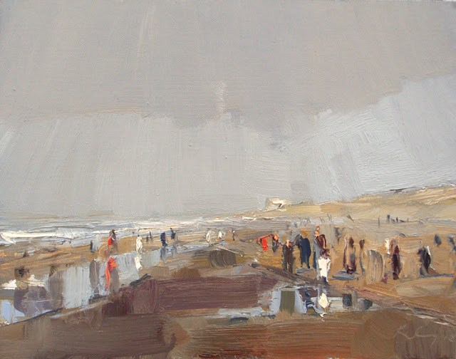 """""""Seascape winter #25 A little sunshine and crowded winterbeach"""" original fine art by Roos Schuring"""