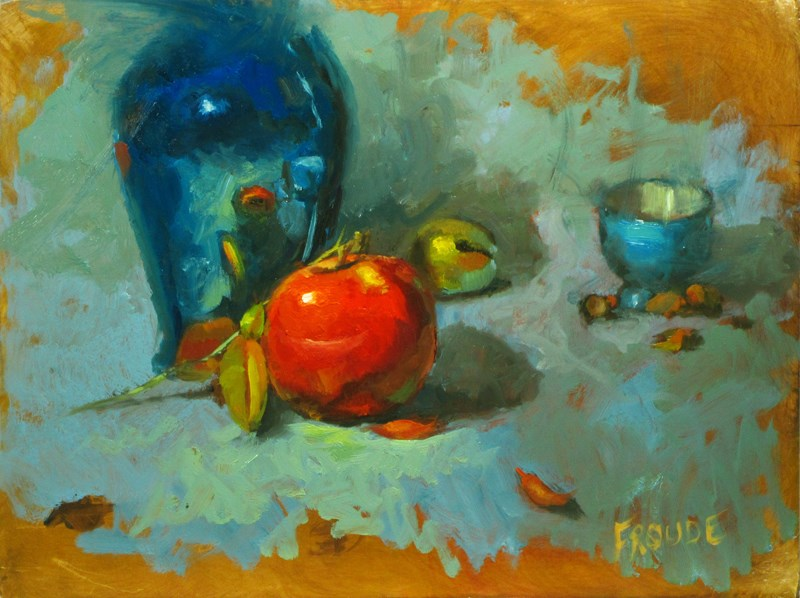 """""""Red apple with leaves"""" original fine art by Dave Froude"""