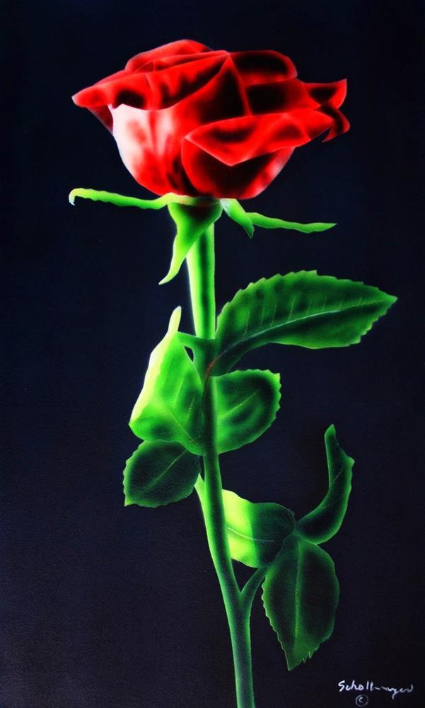 """""""Rose In Darkness"""" original fine art by Fred Schollmeyer"""