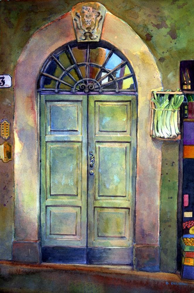 """""""Watercolor: Italian Door with Leeks (& why do people like images of doors?)"""" original fine art by Belinda Del Pesco"""