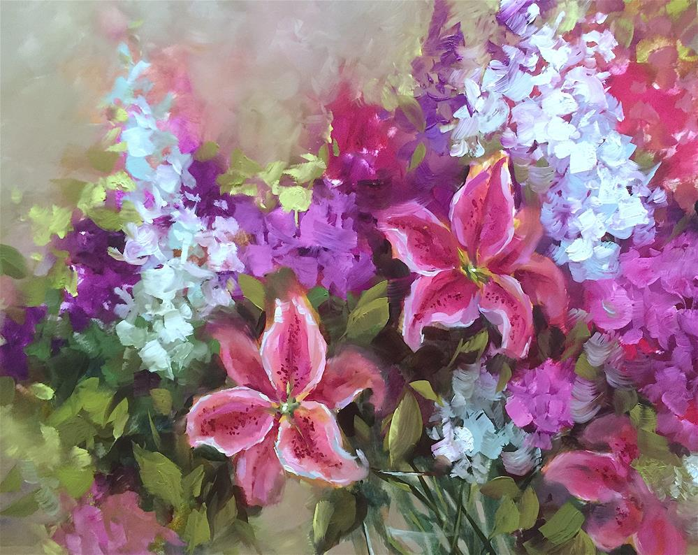 """Heart's Journey Stargazers and Painting Brilliant Colors"" original fine art by Nancy Medina"